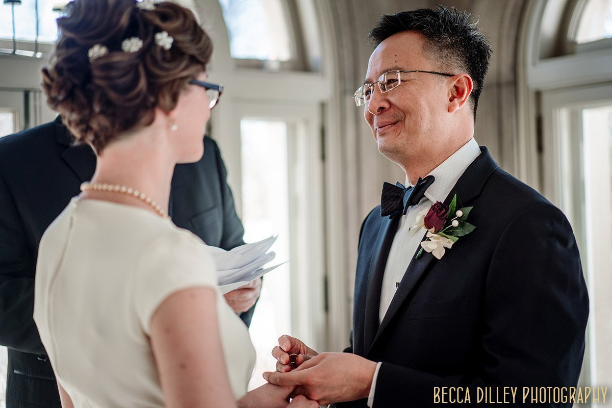 couple exchange vows in minneapolis mansion for elopement