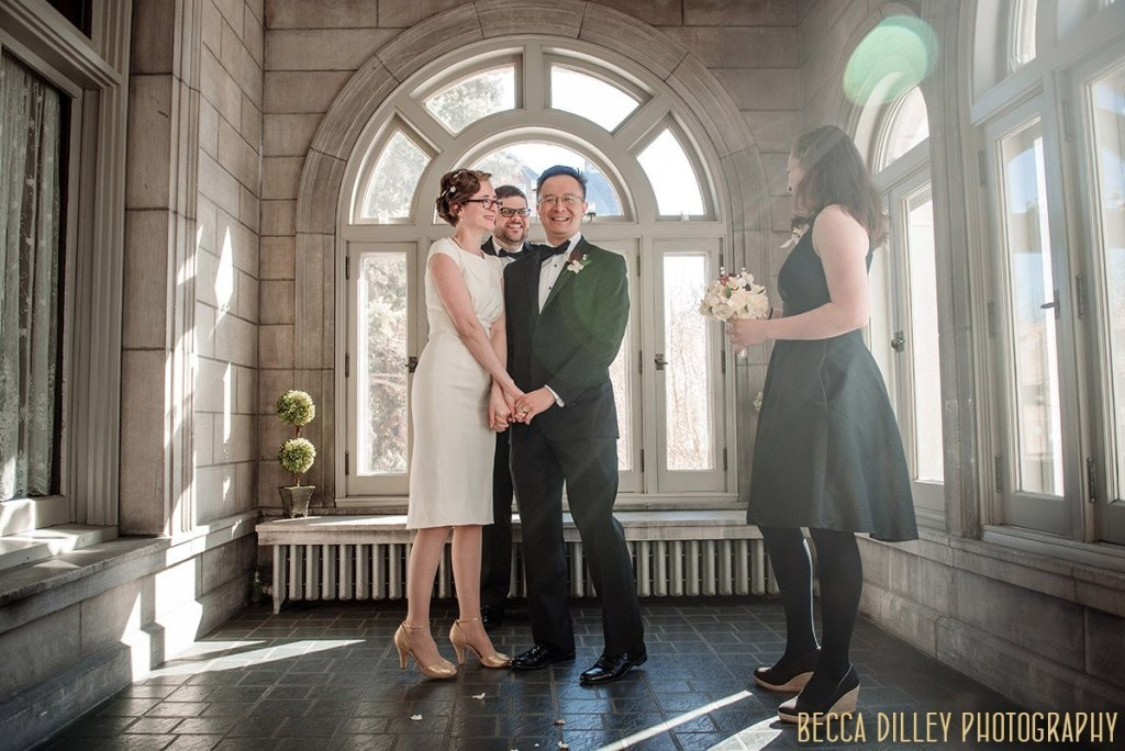wedding ceremony at minneapolis mansion in winter time
