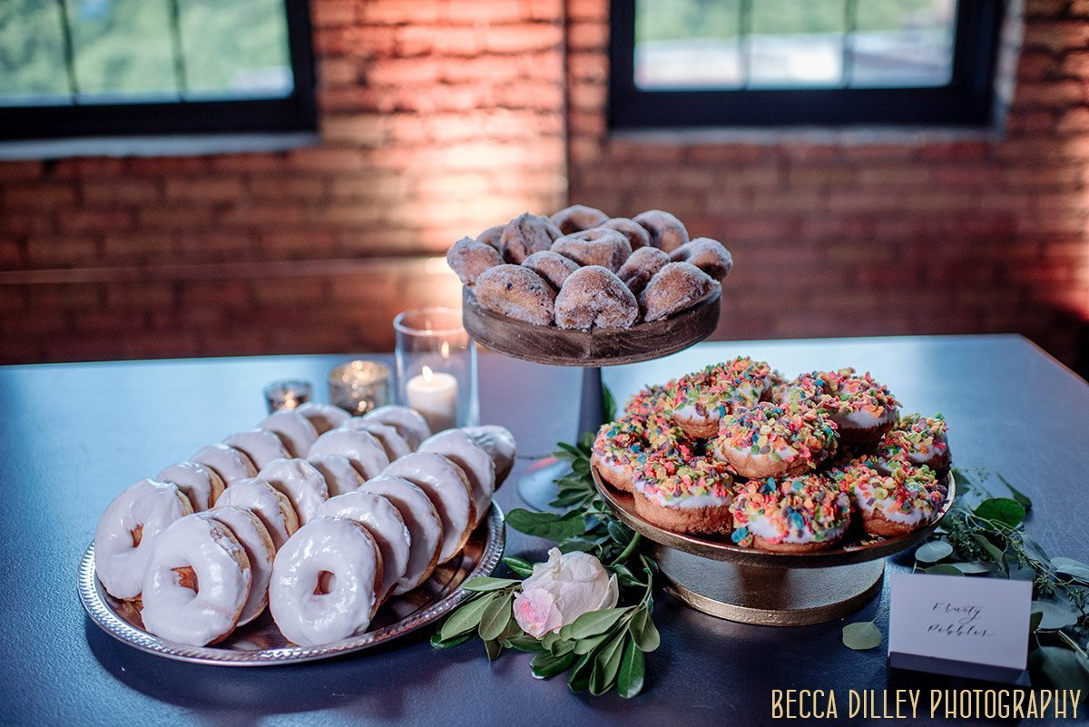 table of doughnuts  solar arts wedding reception
