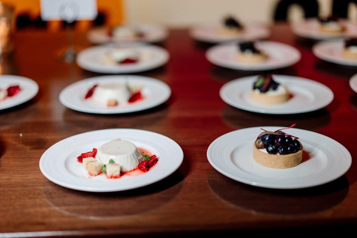 dessert of panna cotta and fresh fruit esker grove wedding at the walker art center minneapolis