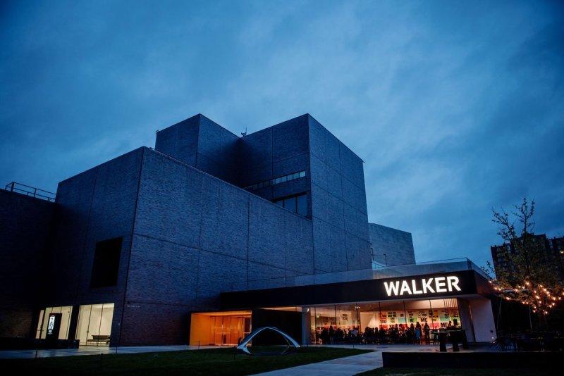 exterior of walker art center with blue night sky for wedding