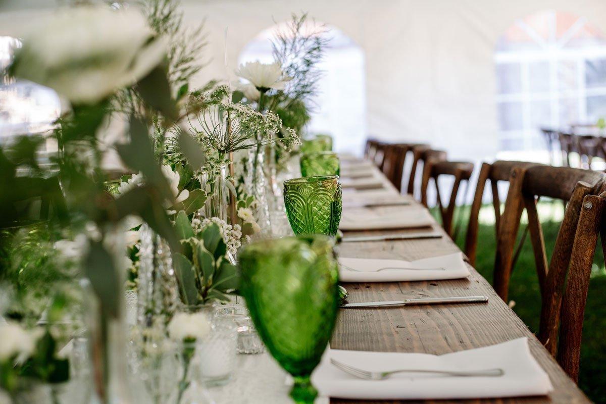 glasses on tables voyageur wedding environmental center mn