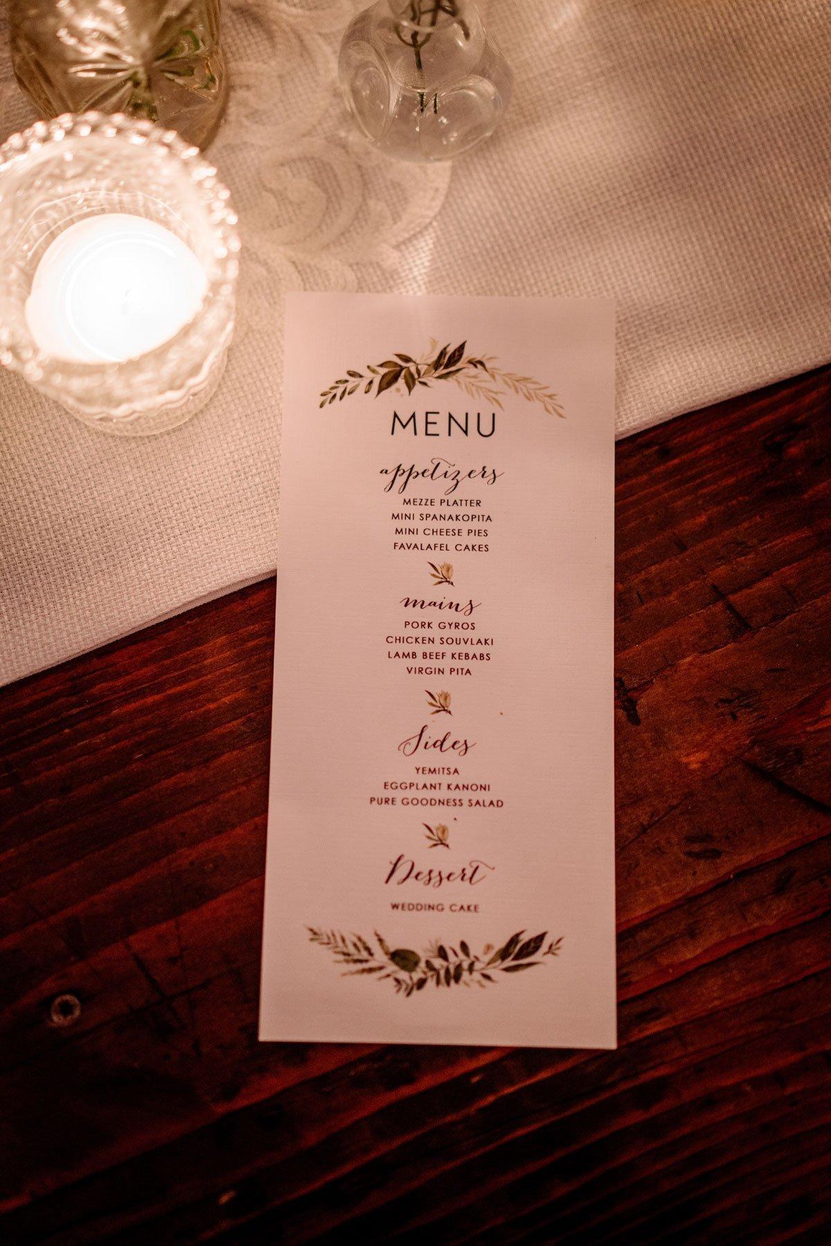 menu on table voyageur wedding environmental center mn