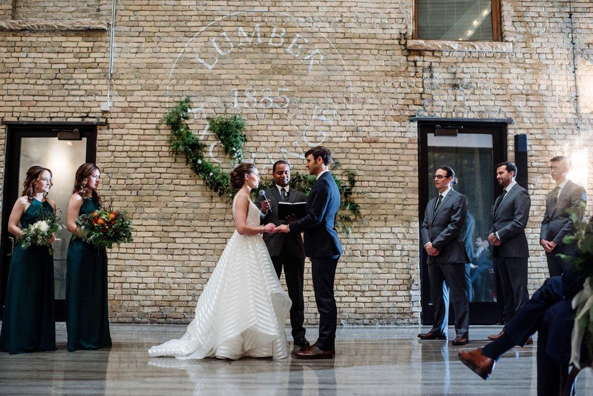 wedding ceremony at lumber exchange minneapolis