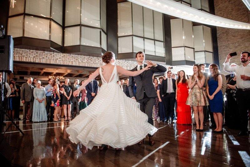 bride and groom first dance at lumber exchange wedding