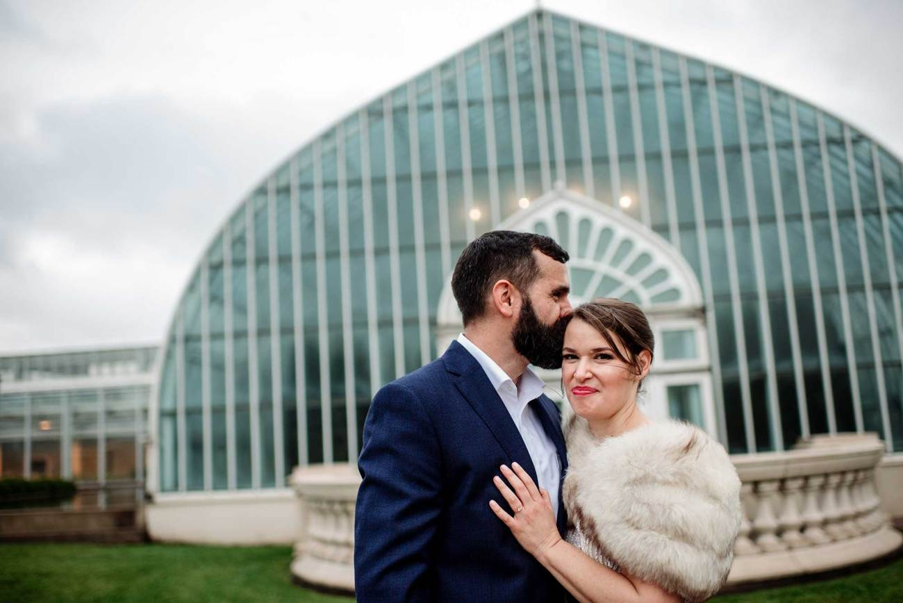 bride and groom outside Como Conservatory for small wedding