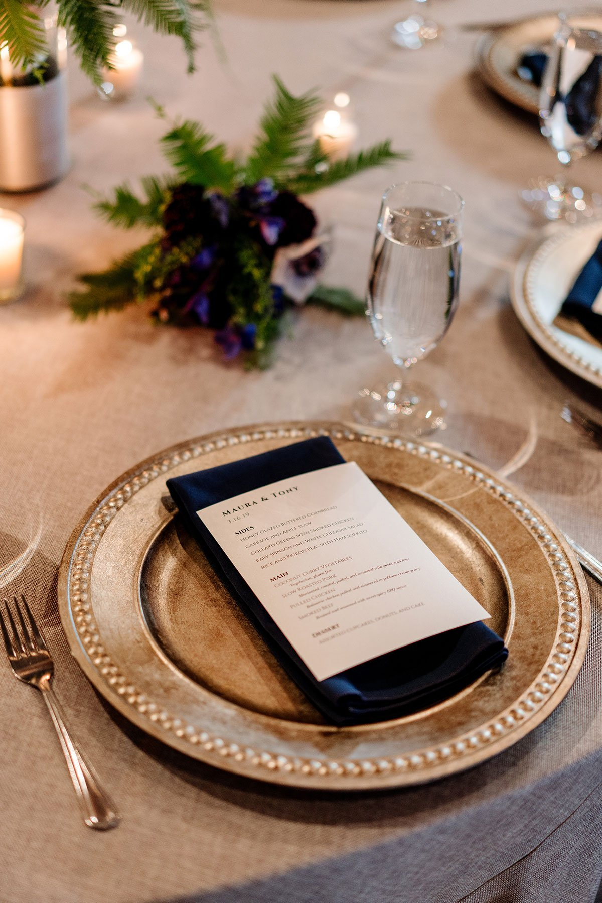 plates set out for reception for aria wedding minneapolis