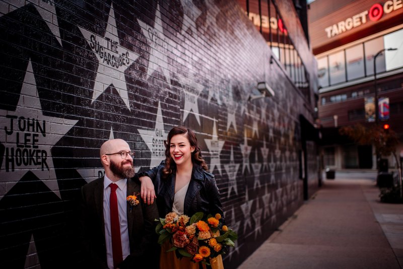 minneapolis elopement outside first ave with stars