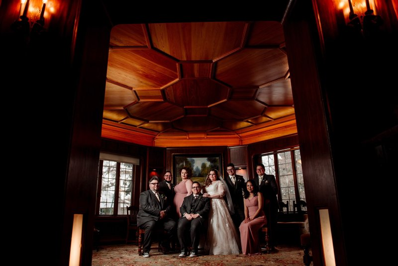 dapper wedding party with two brides st paul college club wedding mn