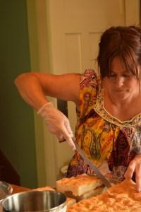 Pam preparing homemade focaccia bread