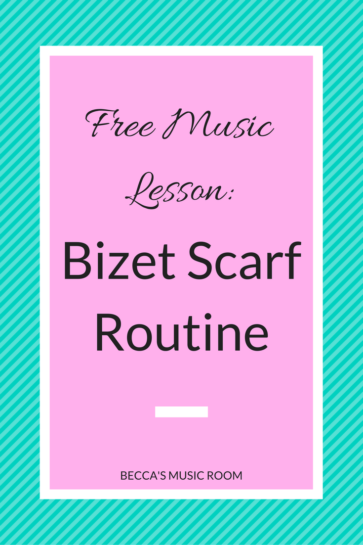 Free Music Lesson: Bizet Scarf Routine. This routine can work for any elementary grade. It is fun and upbeat, and quick. It is great as an energizer. If you do not have a scarf you have just use your hands. Becca's Music Room