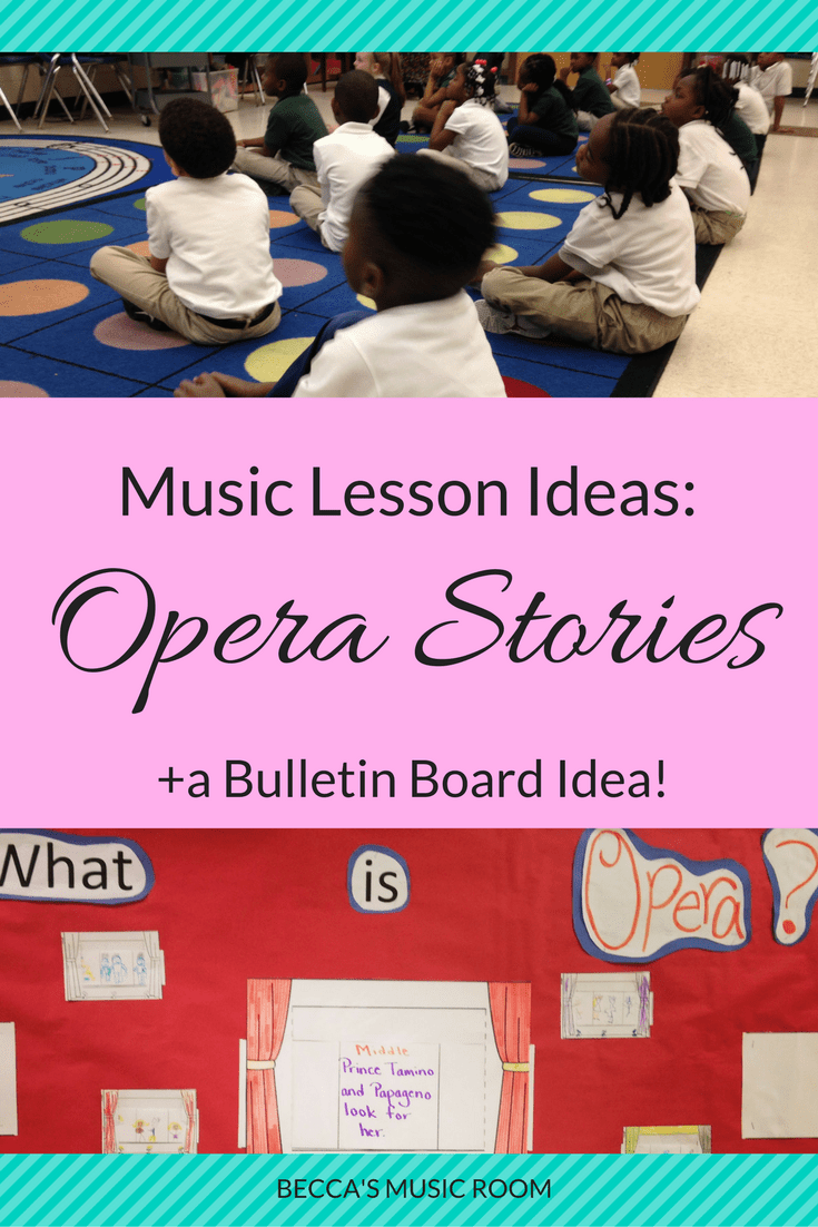 Music Lesson Ideas: Opera Stories. Lots of ideas for teaching opera in elementary music! Scarves, videos, books, writing, coloring, etc. I used lots of these in my classroom, and now my students love opera! Success! Becca's Music Room