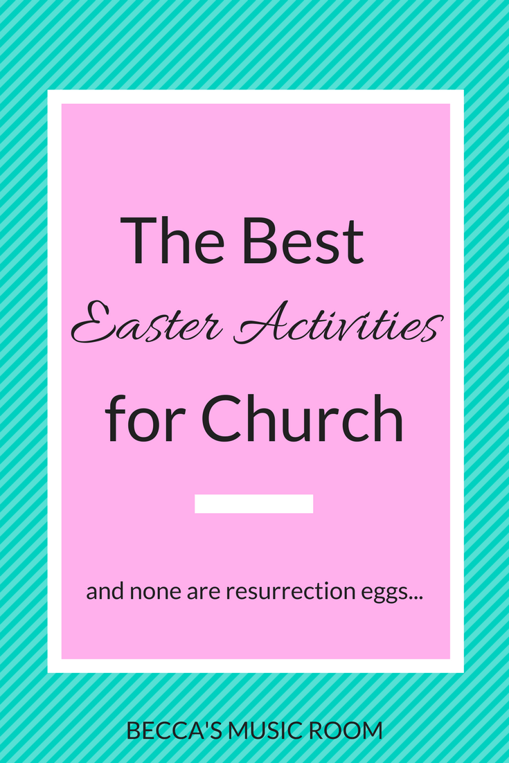 Best Easter Sunday Activities for church. Great for children's church or sunday school. Includes an object lesson and some hands on fun Bible searches. Becca's Music Room