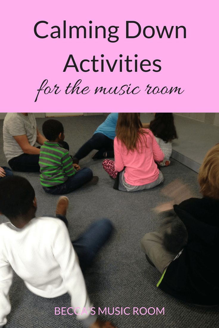 Calming Down Activities for the Music Room. Some ideas for musical ways to get students to wind down before sending them out again. Becca's Music Room.