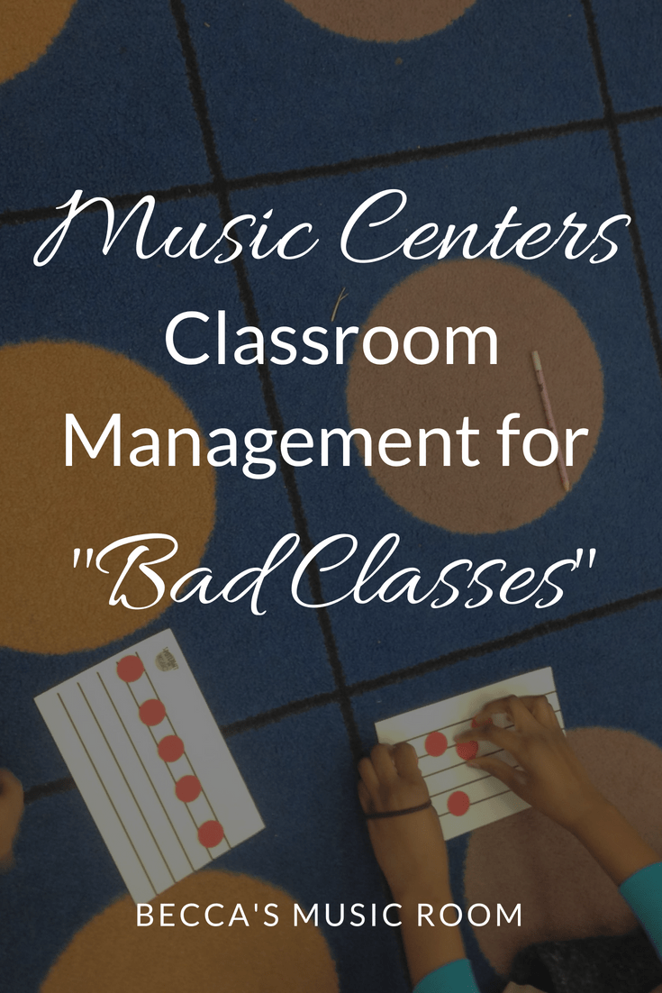 "Music Centers Classroom Management for ""Bad Classes"". Difficult classes and differentiated centers are not usually things that go hand in hand. Find out how to get your difficult elementary music classes to do centers well! Becca's Music Room."