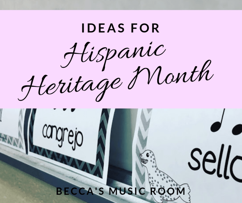 Ideas for Hispanic Heritage Month in elementary music. Whether you have hispanic students or not, learning spanish songs and dances is so much fun! Here are some of my favorite elementary music lessons for Spanish songs, spanish dances, and rhythm practice. Becca's Music Room.