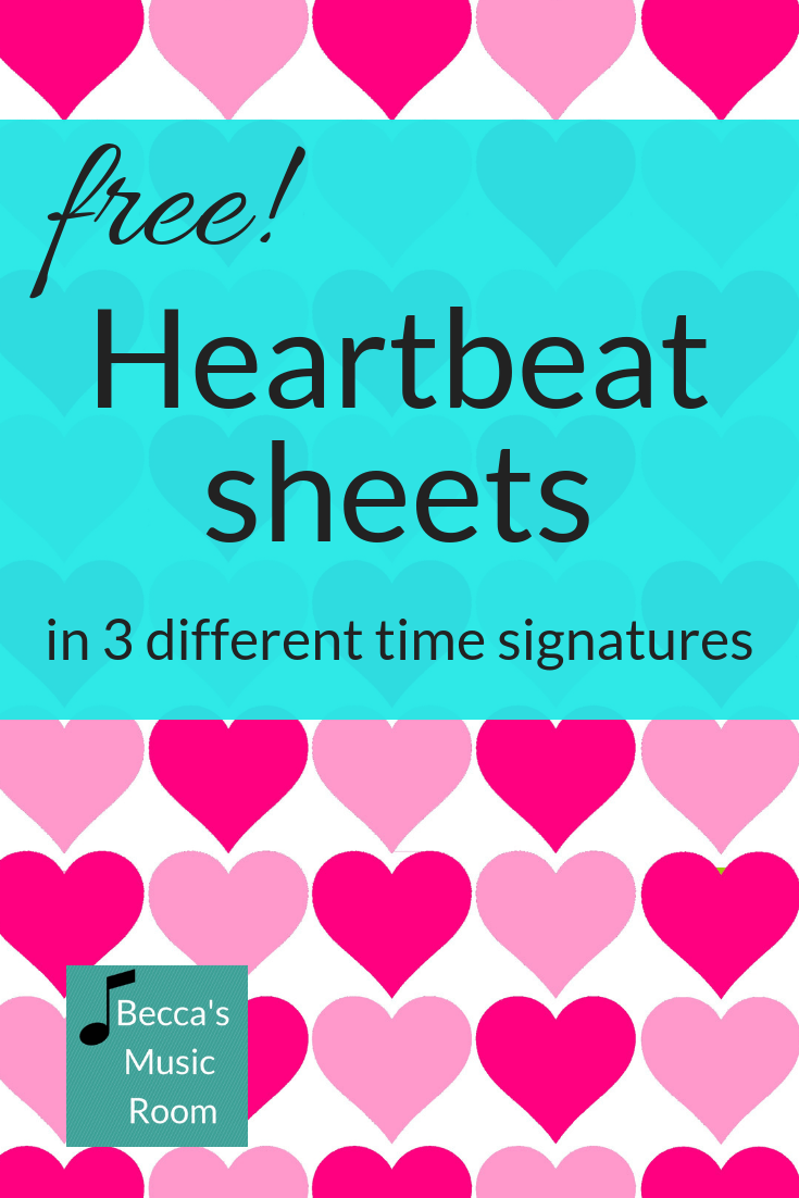 Free heartbeat beat charts! There are charts in 2/4 3/4 and 4/4, with the quarter note on the bottom or the real time signature (or none!). Help your students work on the steady beat and rhythm with there free beat sheets! Becca's Music Room