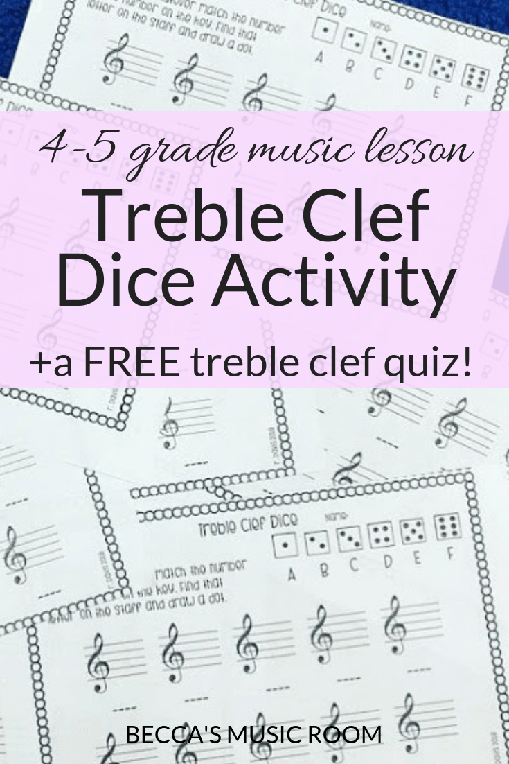 Treble Clef Dice Activity + free treble clef quiz. Looking for a fun way to practice the treble clef in you elementary music room? This dice activity is engaging, fun, and differentiated, plus students get to practice the treble clef. Becca's Music Room