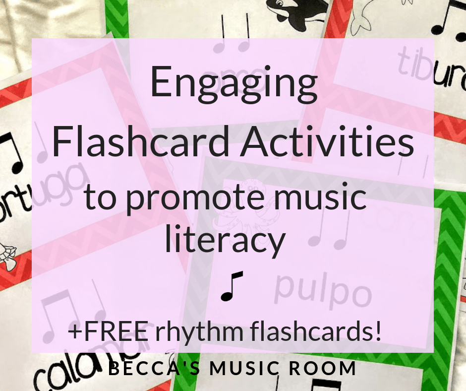 Engaging Flashcard Activities to promote music literacy, and a FREE set of rhythm flashcards! Different ways to use flashcards to engage your students while teaching them about rhythm and solfege in elementary music. Becca's Music Room