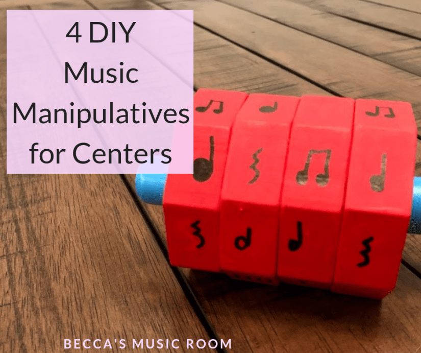 4 DIY Music Manipulatives that are perfect for centers-- and easy to make! Centers can be difficult to figure out, but they don't have to be! These simple DIY music activities can be used over and over again to help students learn about rhythm and melody. Becca's Music Room