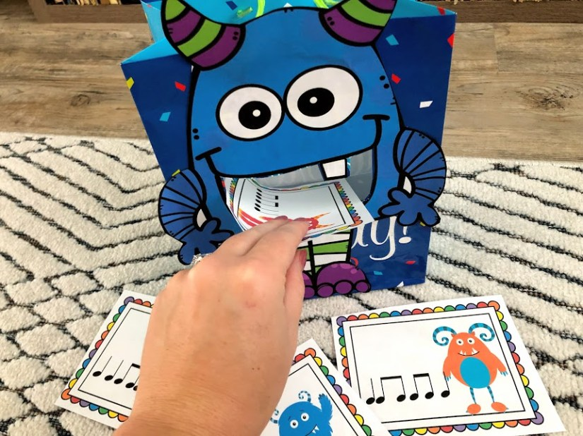 Feed the Monster game for elementary music. This game is perfect to get kindergarten, first grade, and second grade students reading rhythms or solfege melodies! It is super fun and perfect for October music lessons, fall music lessons, or Halloween music lessons. Plus, it comes with a FREE download! Becca's Music Room