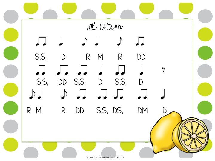 Al Citron folk song lesson for Hispanic Heritage Month with FREE Spanish fruit composition cards! These rhythms manipulatives go along with the Mexican Folk Song Al Citron-- which is a huge hit in my classroom! Students can practice and create rhythms with dotted quarter notes (or ta and titi). Becca's Music Room