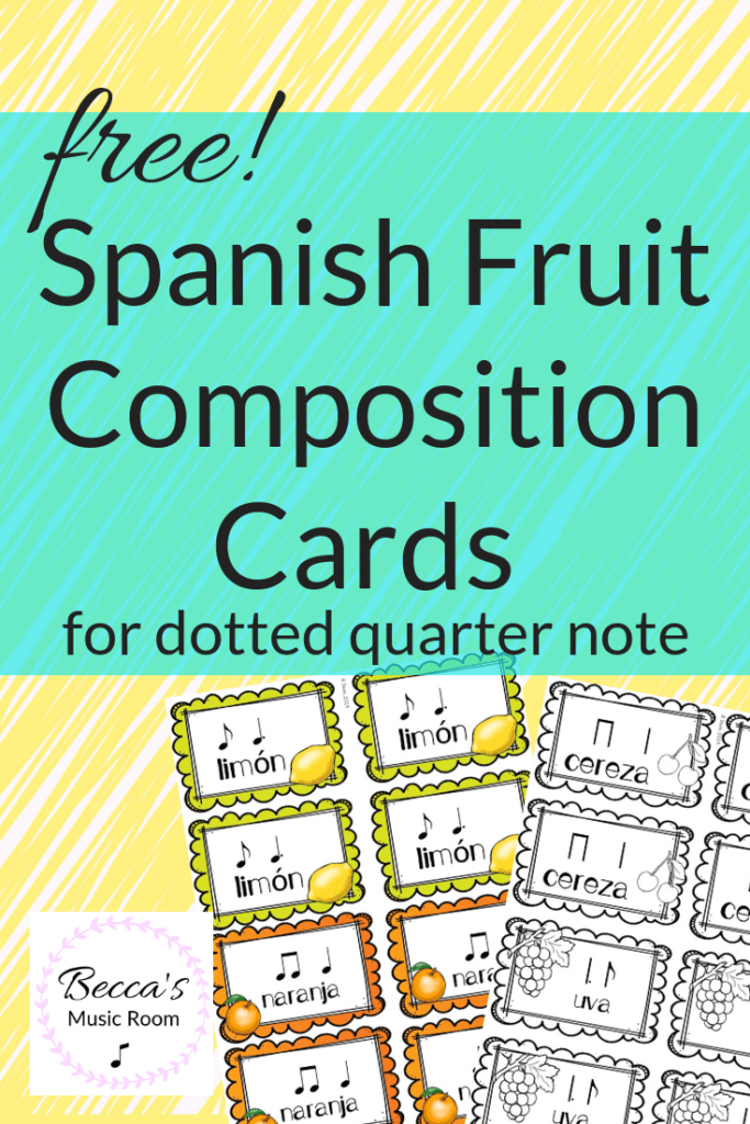 FREE Spanish fruit composition cards! These rhythms manipulatives go along with the Mexican Folk Song Al Citron-- which is a huge hit in my classroom! Students can practice and create rhythms with dotted quarter notes (or ta and titi). Becca's Music Room