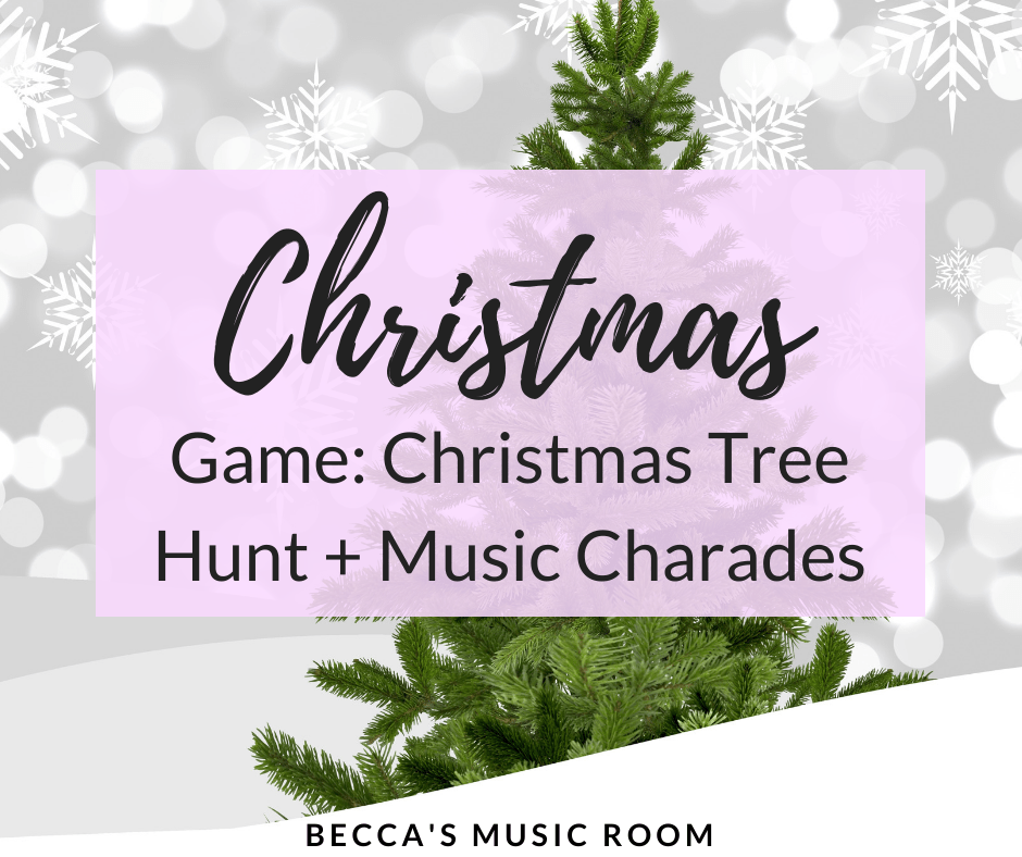 Christmas tree hunt + Music charades is perfect for having fun celebrating the holidays! You can use this game for elementary music, choir, or even as a Christmas party game! Becca's Music Room