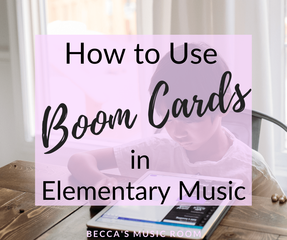 How to use Boom Cards in Elementary Music + a FREE set of Digital Task Cards for instruments of the orchestra! Boom cards are so much fun to use in generall music class-- especially with fourth grade and fifth grade music lessons, and especially if you are teaching music via distance learning. This post talks about how to use Boom cards in music class, as well as a free set of boom cards. Becca's Music Room.