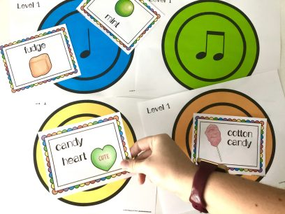 Free Music Lesson Candy Bar Composition and Rhythm Sort. This is a perfect way to practice rhythms during Halloween, Easter, Valentine's Day, or any day. It can be adapted for all rhythm levels, so you can play with first grade or with fifth grade. Becca's Music Room