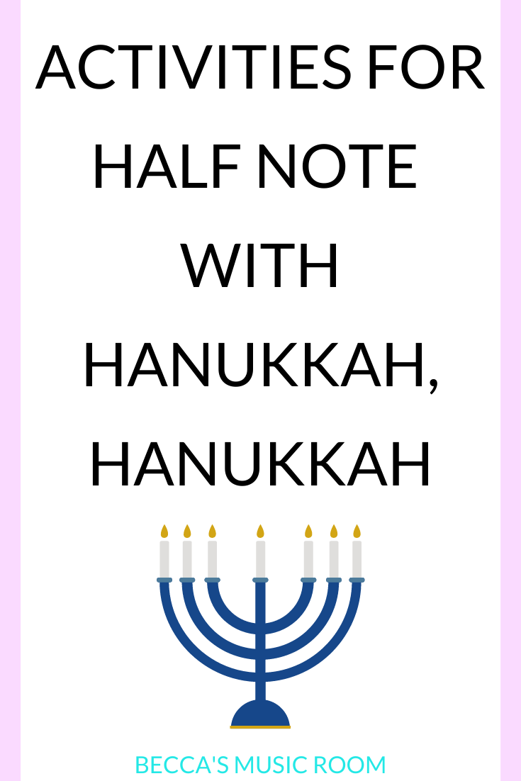 Free Music Lesson Teaching Half Note with Hanukkah, Hanukkah. I always teach second grade music students about half note in December music lessons, so Hanukkah, Hanukkah was a perfect piece to use! This includes different ideas and activities for teaching Hanukkah, Hanukkah in elementary music. Becca's Music Room