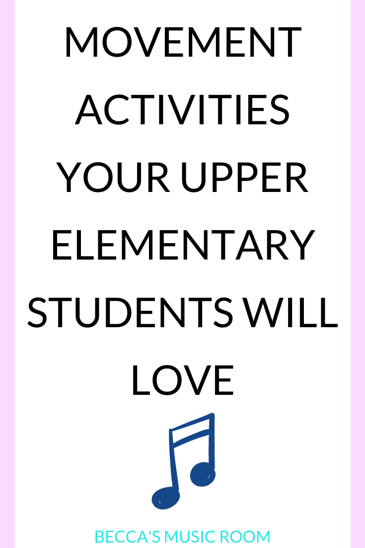 Movement lessons that your fourth and fifth grade music students will want to do. These are simple and easy lesson ideas for teaching elementary music class. These lessons work for no singing music lessons and distance learning. Becca's Music Room