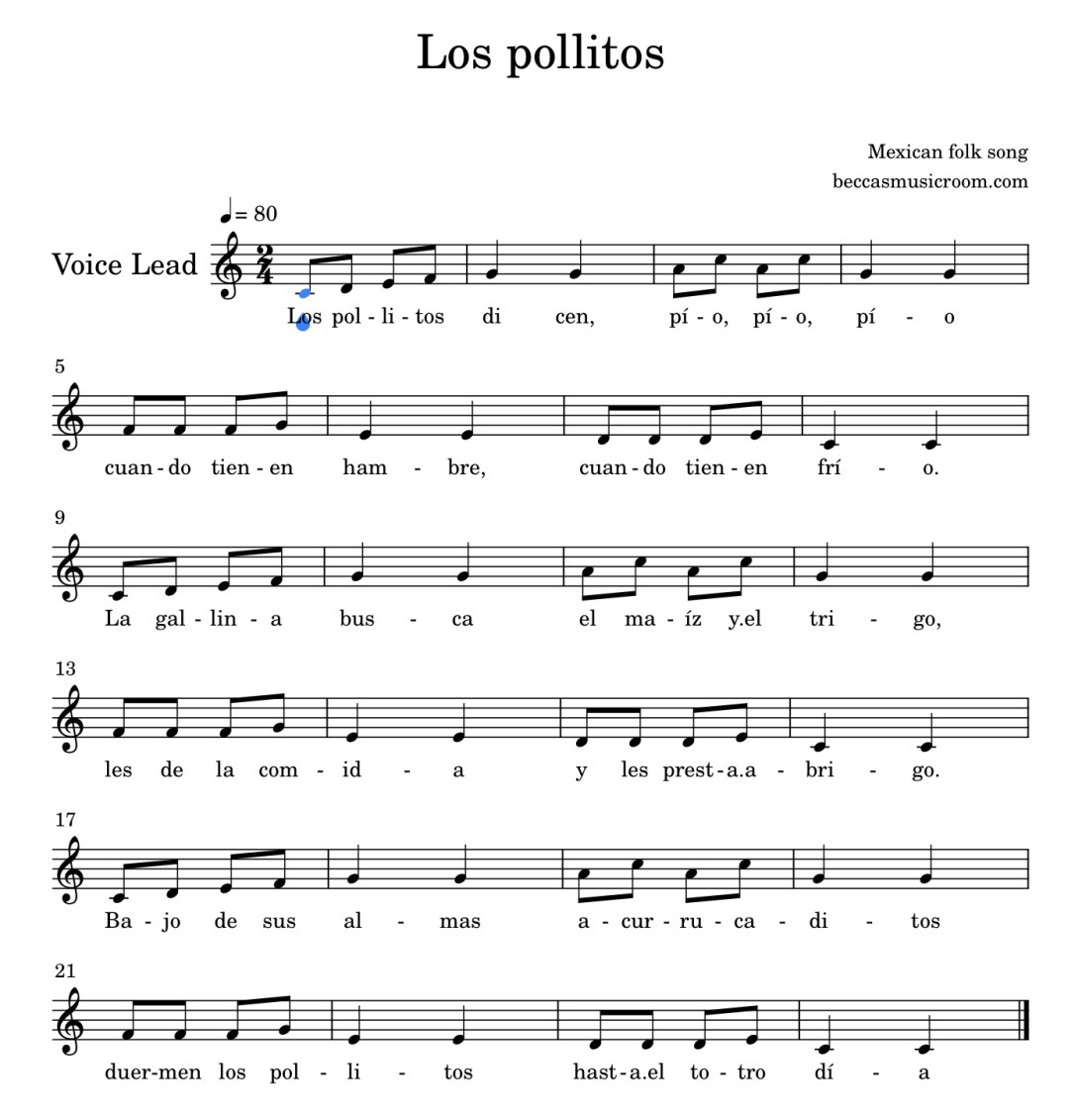 Los pollitos Mexican folk song on Becca's Music Room
