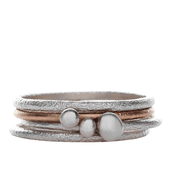 Becca Williams Seaside Stacking Rings Rings Silver and 9ct Red Gold