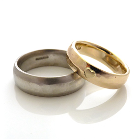 Ross & Jennie's Palladium and 9ct Yellow Gold Hammered Rings
