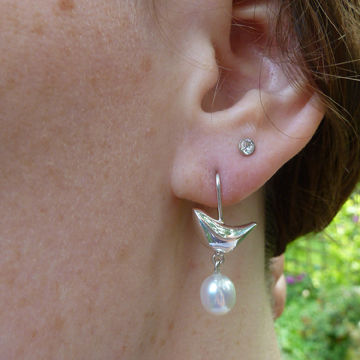 Riverside Silver and Pearl Bird Earrings - white by Becca Williams Contemporary Jewellery