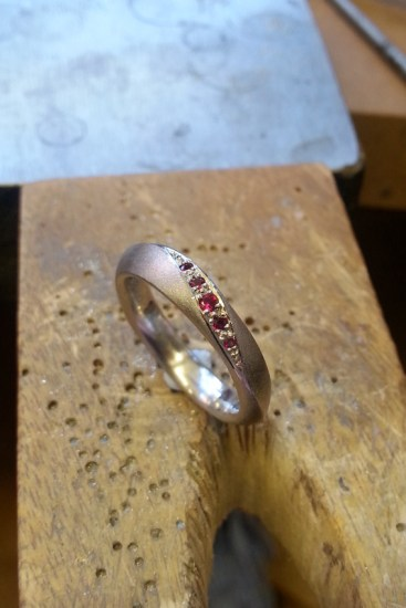 Ruby Palladium Engagement Ring by Becca Williams Jewellery Designer