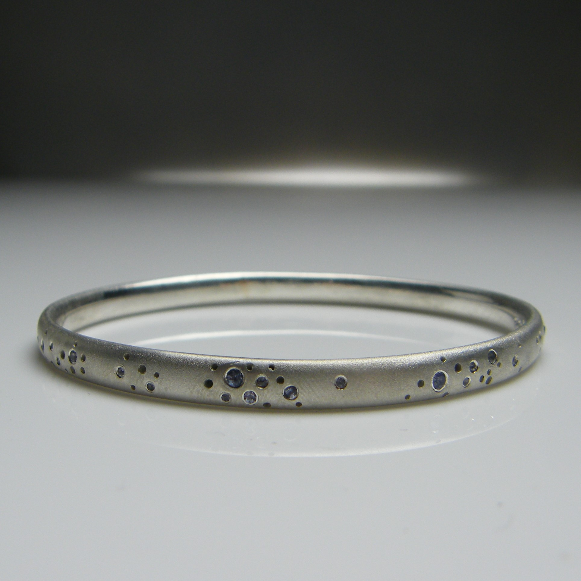 Tanzanite & Silver Constellation Bangle