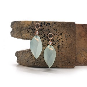 Aqua Chalcedony, Diamond & 9ct Red Gold Earrings