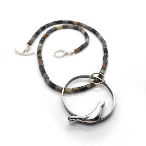 Seal Necklace in Recycled Silver & 9ct Yellow Gold