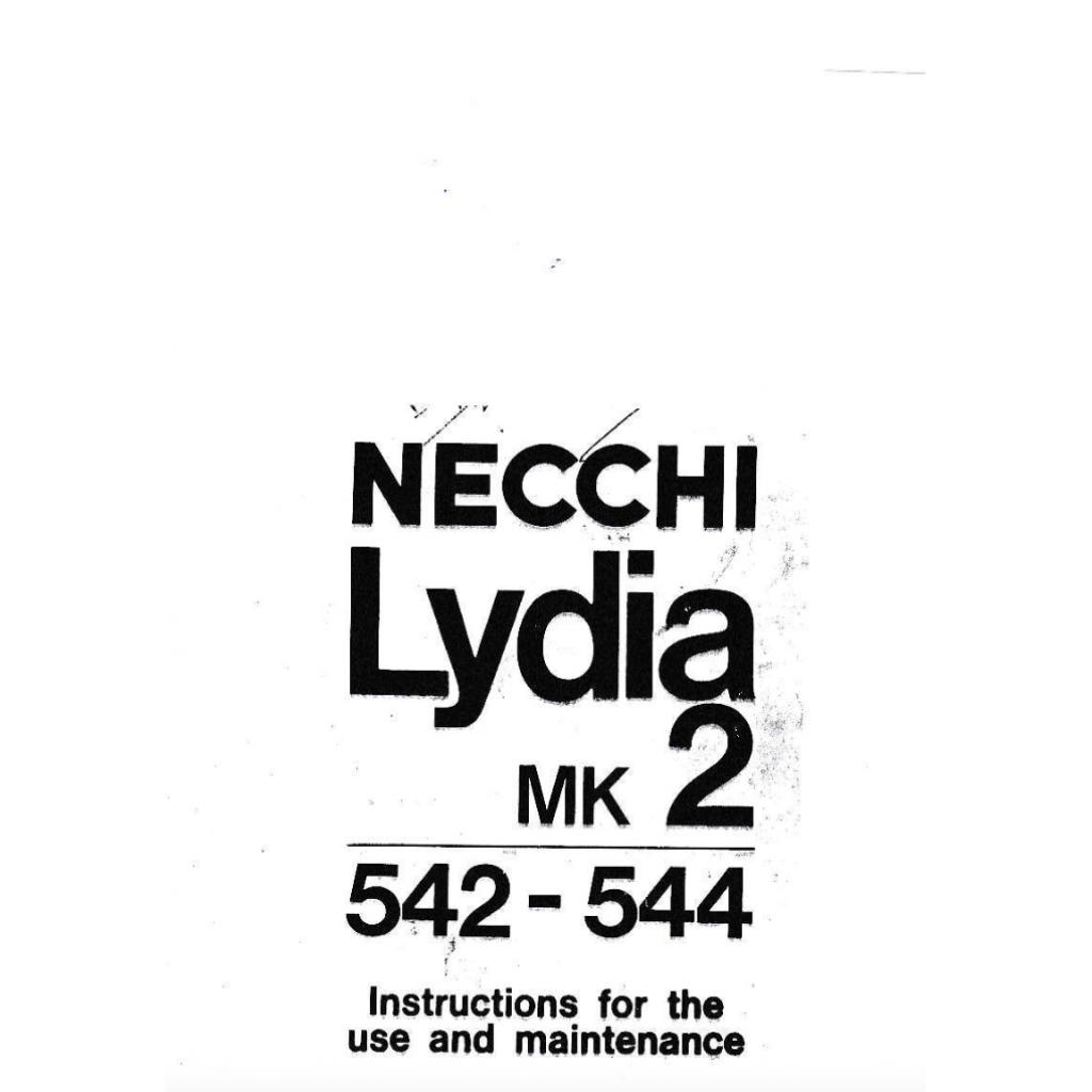 NECCHI Lydia Mk 2 (542, 544) Instruction Manual (Download)