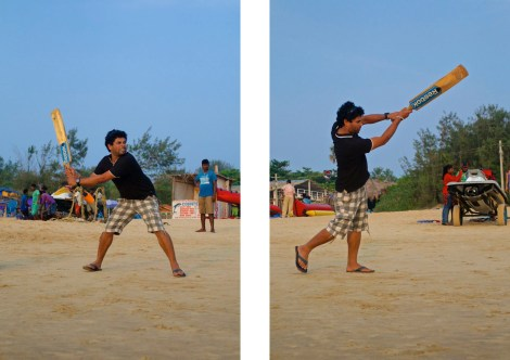 Cricket på stranden är perfekt, särskilt i utkanten av en stor folksamling.