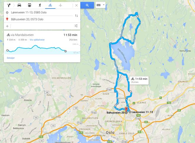Rutten genom Nordmarka. På landsväg då. Inte terräng tyvärr (eller tack och lov).