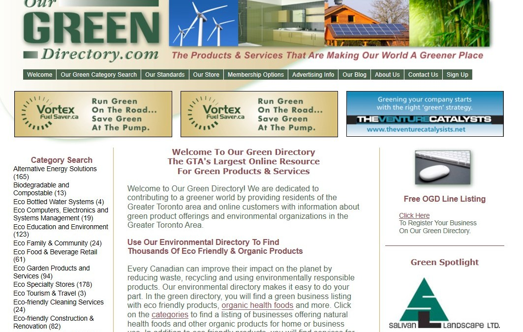 Our Green Directory Homepage