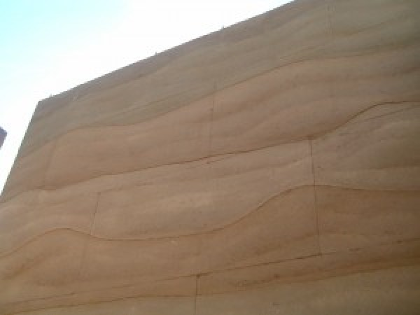 Rammed earth walls visible layers