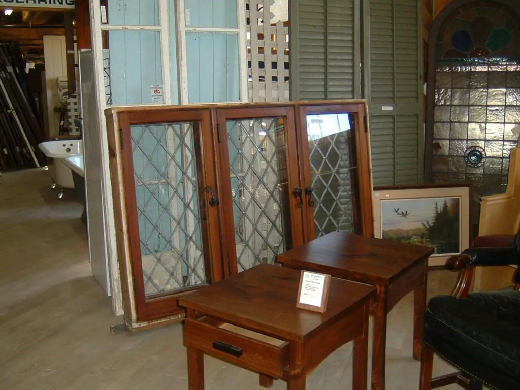 Salvaged diamond lead-paned windows