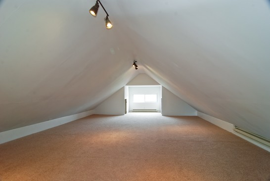 Finished attic, post renovation, affordable green home, Chicago