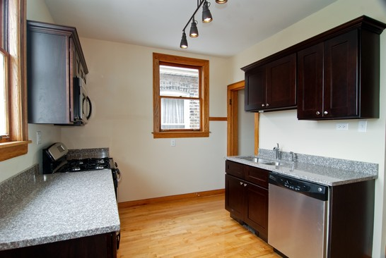 Kitchen post renovation of affordable green home, Chicago
