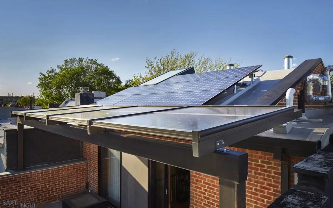 Solar Panels on Passive House Plus Roof Brooklyn