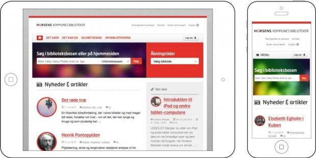 Horsensbibliotek.dk på tablet og smartphone
